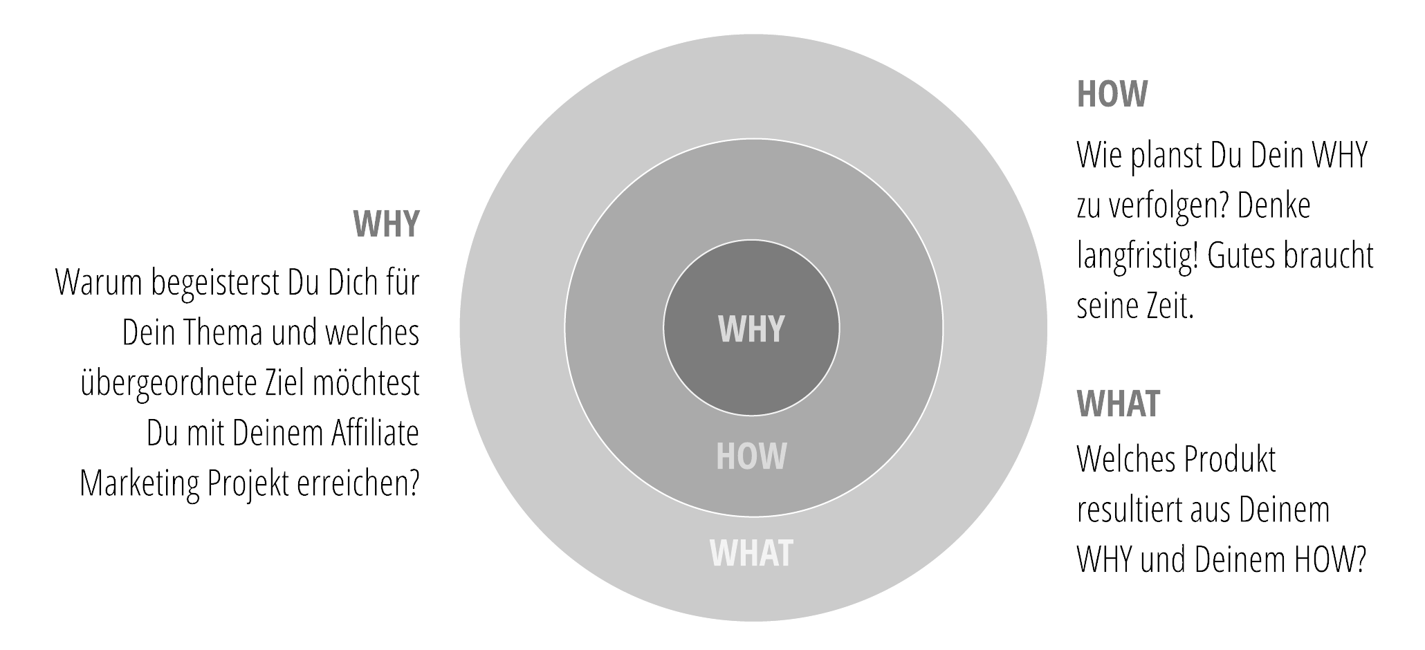WHY -> HOW -> WHAT für Affiliate Marketing Projekte nach Simon Sinek.