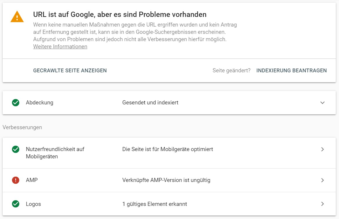 URL-Prüfung in der Search Console.